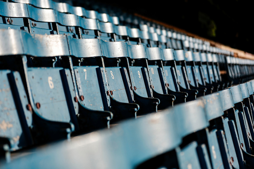 A general view of the old wooden seats in Roots Hall, home of Southend United<br /> <br /> Photographer Craig Mercer/CameraSport<br /> <br /> Football - The Football League Sky Bet League One - Southend United v Blackpool - Saturday 21st November 2015 - Roots Hall - Southend<br /> <br /> &copy; CameraSport - 43 Linden Ave. Countesthorpe. Leicester. England. LE8 5PG - Tel: +44 (0) 116 277 4147 - admin@camerasport.com - www.camerasport.com