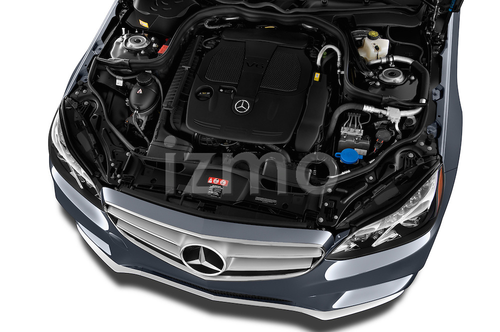 High angle engine detail of a 2014 Mercedes E350 4Matic Wagon