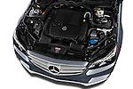 High angle engine detail of a 2014 Mercedes E350 4Matic Wagon