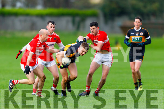 Austin Stacks full back Dylan Casey clears his defence as  Dingle's Mikey and Niall Geaney and Tom O'Sullivan put him under pressure in the County Football league Division 1 play off game in Connolly Park on Sunday.