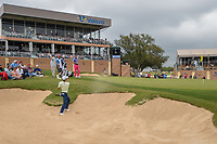 Joaquin Niemann (CHL) hits from the trap on 18 during Round 3 of the Valero Texas Open, AT&amp;T Oaks Course, TPC San Antonio, San Antonio, Texas, USA. 4/21/2018.<br /> Picture: Golffile   Ken Murray<br /> <br /> <br /> All photo usage must carry mandatory copyright credit (&copy; Golffile   Ken Murray)