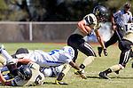 Palos Verdes, CA 09/13/13 - Rory Hubbard (Peninsula #22), Lonnie Walker II (Culver City #11) and Shane Scott (Peninsula #18) in action during the Culver City vs Palos Verdes Peninsula High School Varsity Football game at Palos Verdes Peninsula HIgh School.