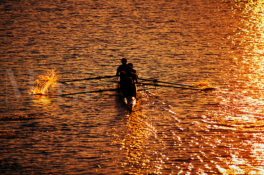 Rowing at sunset.