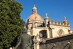 Cathedral church in Jerez de la Frontera, Cadiz province, Spain with Tio Pepe statue