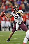 Minnesota Golden Gophers quarterback Philip Nelson (9) in action during the Meineke Car Care Bowl game of Texas between the Texas Tech Red Raiders and the Minnesota Golden Gophers at the Reliant Stadium in Houston, Texas. Texas leads Minnesota 24 to 17 at halftime.