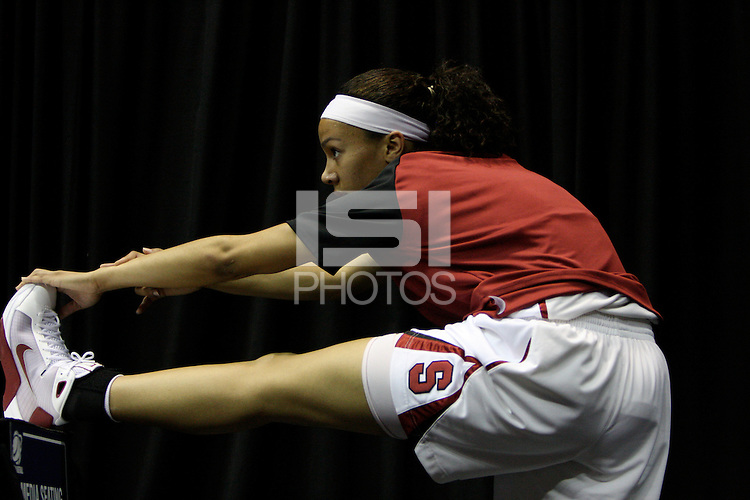 BERKELEY, CA - MARCH 30: Ros Gold-Onwude stretching and preparing before Stanford's 84-66 win against the Ohio State Buckeyes on March 28, 2009 at Haas Pavilion in Berkeley, California.