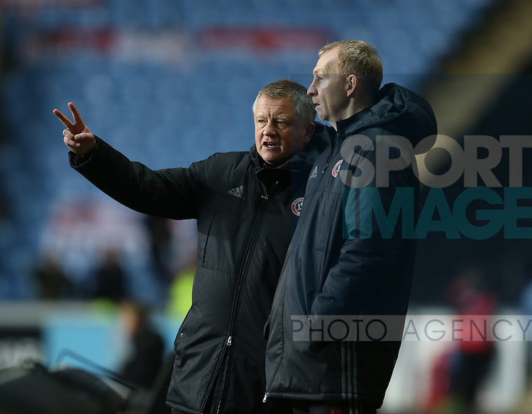 Chris Wilder manager of Sheffield Utd and assistant Alan Knill during the English League One match at the Rioch Arena Stadium, Coventry. Picture date: December 15th, 2016. Pic Simon Bellis/Sportimage