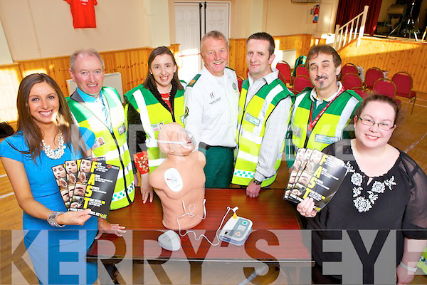 Launching the Defibulator service for Brosna parish were Siobhan Lenihan (Assistant sec & PRO), Noel Lane(chairman), Joanne Linehan (treasurer), John Duggan (HSE ambulance service), Rory Hawkins (assistant chairman), Rodge Byrne(training director) and Hannah Lane(secretary), pictured here last Friday evening in the local community service.