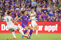 Orlando, FL - Saturday July 15, 2017: Desiree Scott, Alex Morgan during a regular season National Women's Soccer League (NWSL) match between the Orlando Pride and FC Kansas City at Orlando City Stadium.