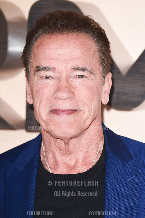 "LONDON, UK. October 17, 2019: Arnold Schwarzenegger at the ""Terminator: Dark Fate"" photocall, London.<br /> Picture: Steve Vas/Featureflash"