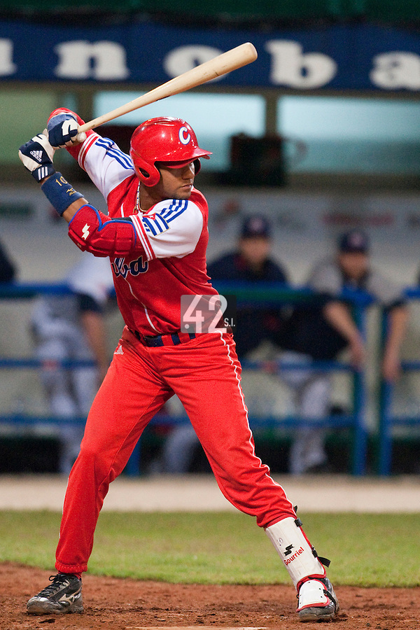 24 September 2009: Third base Yulieski Gourriel of Cuba is seen at bat during the 2009 Baseball World Cup final round match won 5-3 by Team USA over Cuba, in Nettuno, Italy.