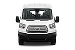 Car photography straight front view of a 2016 Ford Transit 350-XLT-Med-Roof 4 Door Passenger Van Front View
