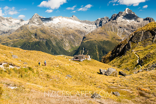 Harris Saddle with group of hikers at shelter on Routeburn Track. Darran Mountains of Fiordland in background, Mt. Aspiring National Park, UNESCO World Heritage Area, Central Otago, New Zealand, NZ