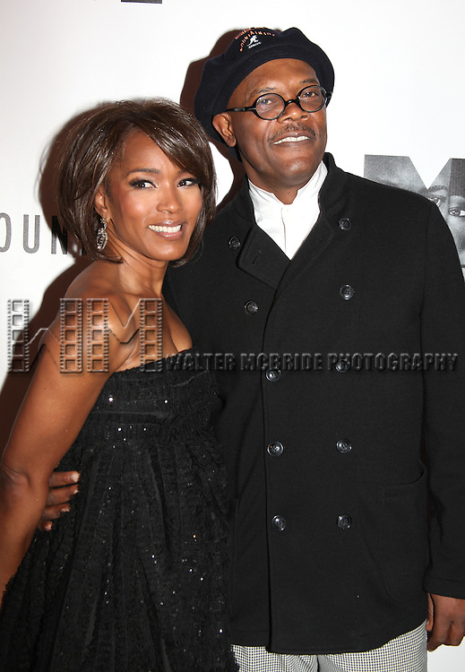 Angela Bassett & Samuel L. Jackson.attending the Opening Night Performance After Party for 'The Mountaintop' at eSpace in New York City.