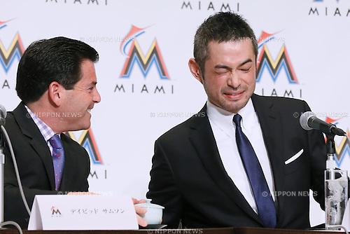 (L-R) David Samson, Ichiro Suzuki, JANUARY 29, 2015 - MLB : Miami Marlins newly signed outfielder Ichiro Suzuki attends an introductory news conference in Tokyo, Japan. (Photo by Sho Tamura/AFLO SPORT)