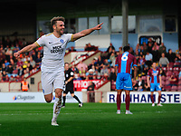 Peterborough United's Matthew Godden celebrates scoring his side's second goal <br /> <br /> Photographer Chris Vaughan/CameraSport<br /> <br /> The EFL Sky Bet League One - Scunthorpe United v Peterborough United - Saturday 13th October 2018 - Glanford Park - Scunthorpe<br /> <br /> World Copyright © 2018 CameraSport. All rights reserved. 43 Linden Ave. Countesthorpe. Leicester. England. LE8 5PG - Tel: +44 (0) 116 277 4147 - admin@camerasport.com - www.camerasport.com