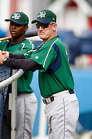 July 3, 2009:  Coach Steve Watson during a game at Dwyer Stadium in Batavia, NY.  The Jammers are the NY-Penn League Short-Season Class-A affiliate of the Florida Marlins.  Photo by:  Mike Janes/Four Seam Images