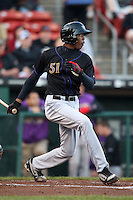 May 3, 2010:  Starting pitcher Aroldis Chapman (51) of the Louisville Bats hits a double during an at bat in a game vs. the Buffalo Bisons at Coca-Cola Field in Buffalo, NY.   Louisville defeated Buffalo by the score of 20-7, Chapman got the win on the mound.  Photo By Mike Janes/Four Seam Images