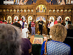 Fa. Russel talks and tours with the Red Hat Ladies from Helena at Holy Trinity Serbian Orthodox Church, Butte, Montana
