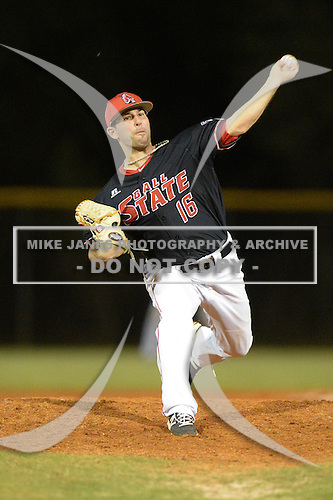 Ball State Cardinals pitcher Matt Johnson (16) during a game against the Mississippi Valley State Delta Devils on February 21, 2014 at North Charlotte Regional Park in Port Charlotte, Florida.  Ball State defeated Mississippi Valley 12-1.  (Copyright Mike Janes Photography)