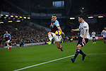 Home team striker Sam Vokes on the attack as Burnley (in claret) hosted Everton in an English Premier League fixture at Turf Moor. Founded in 1882, Burnley played their first match at the ground on 17 February 1883 and it has been their home ever since. The visitors won the match 5-1, watched by a crowd of 21,484.
