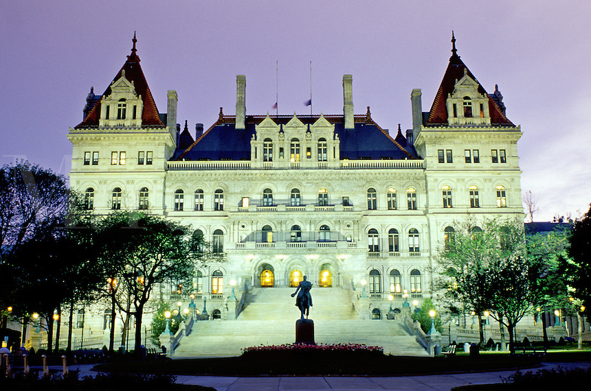 State Capitol, Albany, capitol, Statehouse, New York, The State Capitol is illuminated at night in Albany, New York.