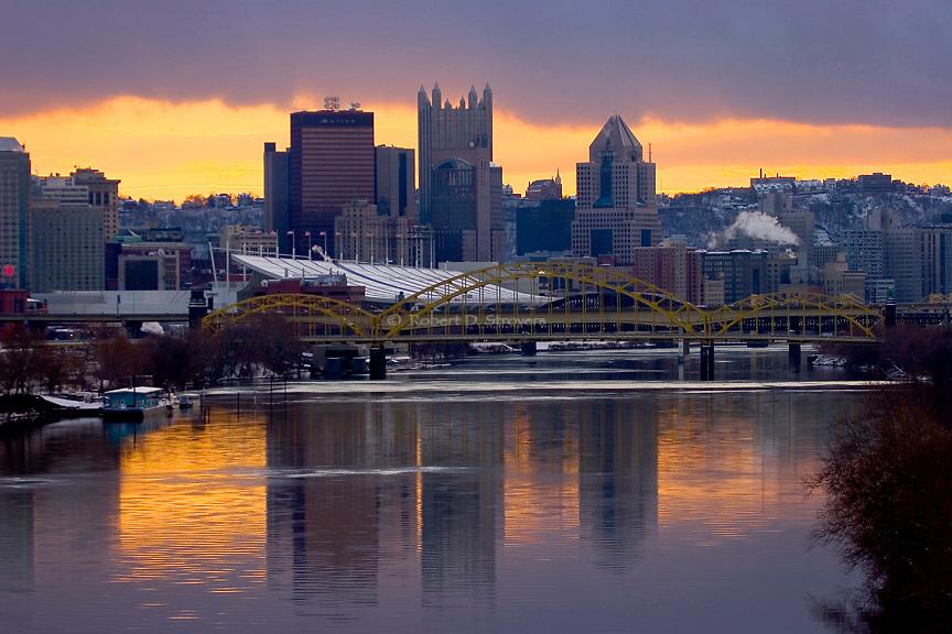 Pittsburgh Skyline - Down River, Winter Sky