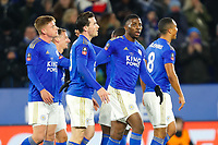 4th March 2020; King Power Stadium, Leicester, Midlands, England; English FA Cup Football, Leicester City versus Birmingham City; Leicester City players celebrate after their opening goal after 81 minutes (1-0)