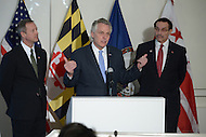 Arlington, VA - February 26, 2014: Virginia Governor Terry McAuliffe speaks during a news conference following a regional governor's meeting with Maryland Governor Martin O'Malley (l) and District of Columbia Mayor Vincent Gray (r). (Photo by Don Baxter/Media Images International)
