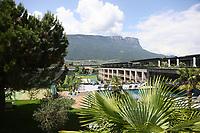 Pool im Hotel Weinegg, dem Teamhotel der Deutschen Nationalmannschaft - 05.06.2018: Media Day der Deutschen Nationalmannschaft zur WM-Vorbereitung in der Sportzone Rungg in Eppan/Südtirol