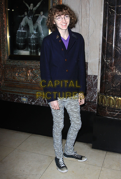 "MICKEY REID .Opening Night Of ""STOMP"" held At The Pantages Theatre, Hollywood, California , USA, 26th January 2010..arrivals full length navy blue jacket white and black zebra leggings animal trainers  converse glasses print  .CAP/ADM/KB.©Kevan Brooks/AdMedia/Capital Pictures."