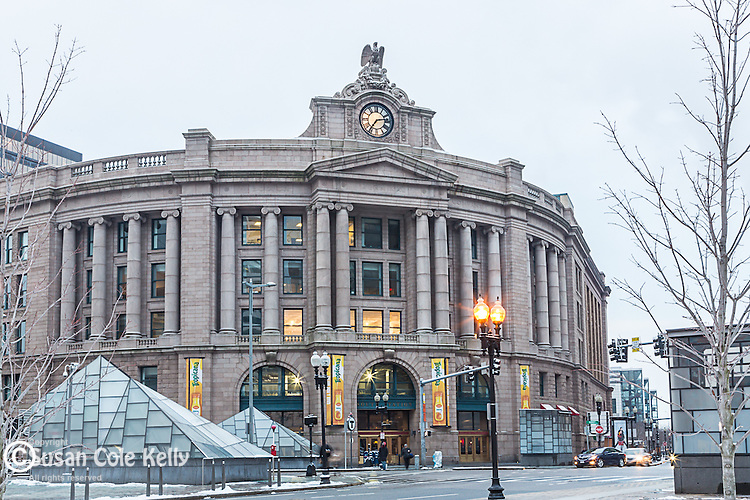 A dusting of snow at South Station, Boston, Massachusetts, USA