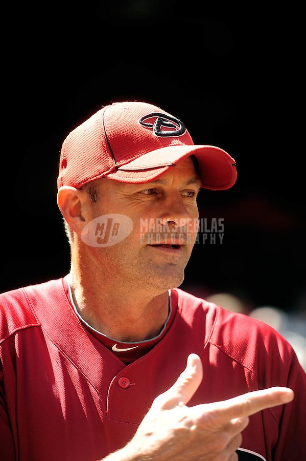Apr. 3, 2010; Phoenix, AZ, USA; Arizona Diamondbacks coach Kirk Gibson against the Chicago Cubs at Chase Field. Mandatory Credit: Mark J. Rebilas-
