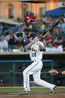 Drew Ferguson (20) of the Lancaster JetHawks bats against the High Desert Mavericks at The Hanger on April 16, 2016 in Lancaster, California. Lancaster defeated High Desert, 3-2. (Larry Goren/Four Seam Images)