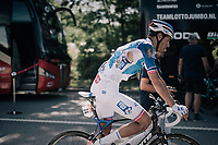 Jacopo Guarnieri (FRA/FDJ) returning to the teambus after having crashed in the finish bunch sprint<br /> <br /> 104th Tour de France 2017<br /> Stage 4 - Mondorf-les-Bains &rsaquo; Vittel (203km)