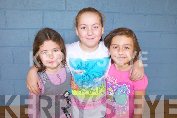 Enjoying Halloween camp in Lixnaw Community Centre all last week were: Aoibhinn McElligott, Emma Conway and Lauryn Dowling.