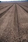 Deep soil furrows ploughed field Sutton Heath, Suffolk