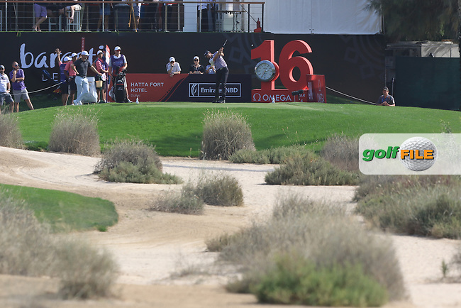 Victor Perez (FRA) on the 16th tee during Round 4 of the Omega Dubai Desert Classic, Emirates Golf Club, Dubai,  United Arab Emirates. 27/01/2019<br /> Picture: Golffile | Thos Caffrey<br /> <br /> <br /> All photo usage must carry mandatory copyright credit (&copy; Golffile | Thos Caffrey)