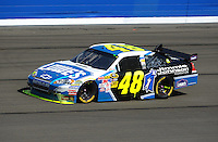 Oct. 11, 2009; Fontana, CA, USA; NASCAR Sprint Cup Series driver Jimmie Johnson during the Pepsi 500 at Auto Club Speedway. Mandatory Credit: Mark J. Rebilas-