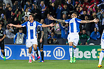 Luciano Neves and Unai Bustinza of Club Deportivo Leganes celebrates after scoring a goal  during the match of  La Liga between Club Deportivo Leganes and Real Madrid at Butarque Stadium  in Leganes, Spain. April 05, 2017. (ALTERPHOTOS / Rodrigo Jimenez)