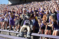 Sept 3, 2011:  Washington Fans cheered along side Harry the Washington Mascot during the game against Eastern Washington.  Washington defeated Eastern Washington 30-27 at Husky Stadium in Seattle, Washington...