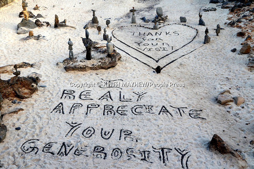 LANZAROTE, CANARY ISLANDS - Sand art in the beach resort of Costa Teguise during January 2016 in Lanzarote, Canary Islands<br /> <br /> Photo by Keith Mayhew