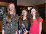 Bláithín Sharkey, Emily Rose Murphy and Rachel Beirth pictured at the Louth Ladies Awards night in Watters of Collon. Photo:Colin Bell/pressphotos.ie