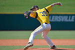 4 JUNE 2016: Matt Ulrich (35) of Millersville University delivers a pitch during the Division II Men's Baseball Championship between Millersville University and Nova Southeastern University at the USA Baseball National Training Complex in Cary, NC.  Nova Southeastern University defeated Millersville University 8-6 to win the national title. Grant Halverson/NCAA Photos