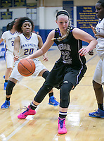 Cedar Ridge's Sydney Williams muscles her way into the paint against Pflugerville Friday.  The Raiders beat the Panthers 64-39.  (LOURDES M SHOAF for Round Rock Leader.)
