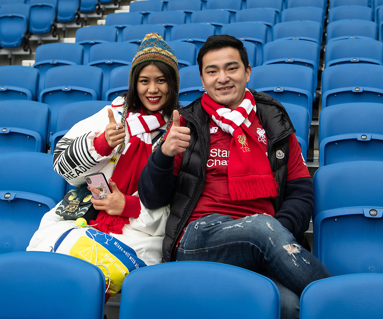 Liverpool Fans<br /> <br /> Photographer David Horton/CameraSport<br /> <br /> The Premier League - Brighton and Hove Albion v Liverpool - Saturday 12th January 2019 - The Amex Stadium - Brighton<br /> <br /> World Copyright © 2018 CameraSport. All rights reserved. 43 Linden Ave. Countesthorpe. Leicester. England. LE8 5PG - Tel: +44 (0) 116 277 4147 - admin@camerasport.com - www.camerasport.com