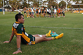 Corey Stanley of Wyong Roos sits out injured during half time of the first trail game of the 2013 NSW Cup season at Morrie Breen Oval on February 9, 2013 in Wyong, Australia. (Photo by Paul Barkley/LookPro)