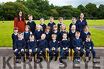 First day for Ms Kate McGrath's Junior Infants with SNA Aisling Ui Dhubhda at Castledrum NS Castlemaine. Pictured Hannah Bonner, Kayleigh McCarthy, Teagan Griffin, Rhea Murphy, Aideen O'Sullivan, Ella Power, Sive Evans, Sarah Clifford, Luke Costello, Cormac Mangan, Andrew Bartley, Paul McCarthy, Aodhan O'Shea, Luke Clifford, Noah Costello, Thomas Flaherty, Odhran Myers O'Mahony, Brendan Ashe, PJ Griffin, Micheal Flynn