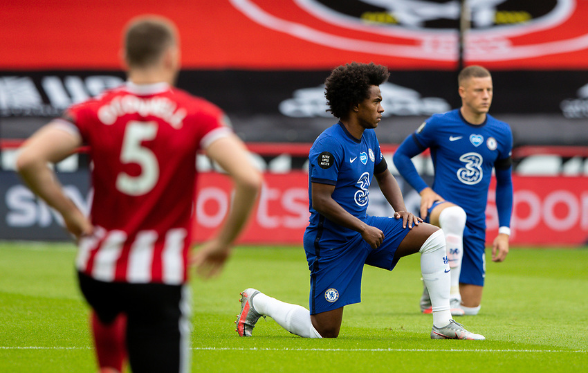Players take the knee<br /> <br /> Photographer Alex Dodd/CameraSport<br /> <br /> The Premier League - Sheffield United v Chelsea - Saturday 11th July 2020 - Bramall Lane - Sheffield<br /> <br /> World Copyright © 2020 CameraSport. All rights reserved. 43 Linden Ave. Countesthorpe. Leicester. England. LE8 5PG - Tel: +44 (0) 116 277 4147 - admin@camerasport.com - www.camerasport.com