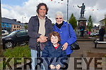 John and Naoise Ahern Abbeyfeale with Pat Eagle from England pictured on Sunday in the square.